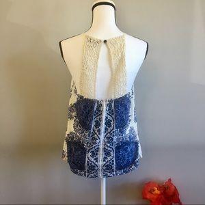 Lucky Brand crochet lace back tank top